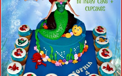 Ariel little mermaid cake and cupcakes
