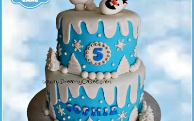 Frozen Olaf 2 tier cake design 2