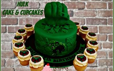 Hulk cake and cupcakes