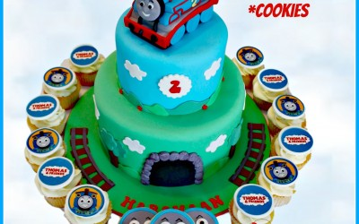 Thomas 2 tier with cupcakes and cookies