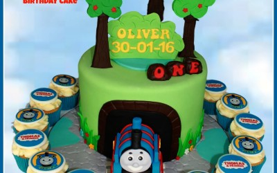Thomas cake with standing trees
