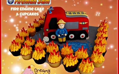 fireman sam cake and cupcakes