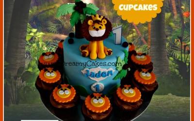 lion cake + cupcakes